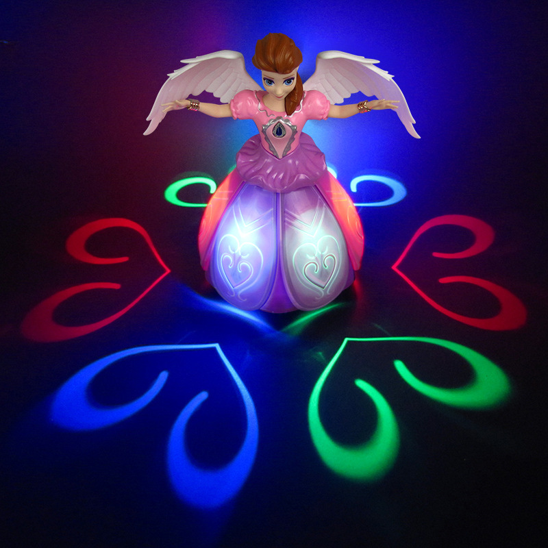 Image 4 - Electric Dancing Princess Doll Toys Elsa Anna Doll with Wings Action Figure Rotating Projection Light Music Model Dolls For GirlElectronic Pets   -