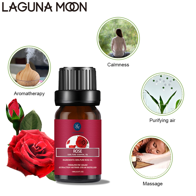 Lagunamoon Rose 10ML Pure Essential Oils Massage Humidifier Peppermint Vanilla Sandalwood Lavender Lemon Jasmine Oil Essential