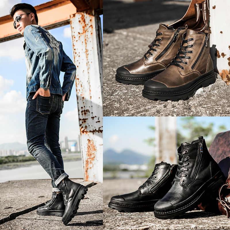 2019 Echte Koe Lederen laarzen Mannen sneeuw Handgemaakte warme Mannen schoenen winter laarzen # SB9550