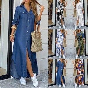 Womens Casual Loose Dresses Sexy Long Sleeve Pocket Button Shirt Print Dress Denim Split Elegant Ankle length Dress 2020#T2