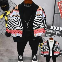 Детская одежда для мальчиков весенне-осенний вязаный кардиган для маленьких мальчиков+ футболка+ штаны, комплект одежды из 3 предметов комплект одежды для мальчиков 2-6 лет