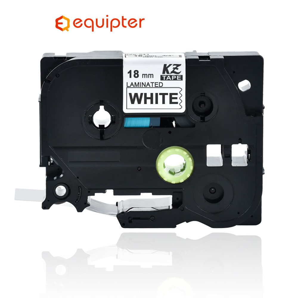 <font><b>18mm</b></font> Tze241 black on white label tape Compatible Brother p-touch printers <font><b>tze</b></font> tape laminated <font><b>tze</b></font>-<font><b>241</b></font> <font><b>tz</b></font>-<font><b>241</b></font> tz241 tze141 ribbon image