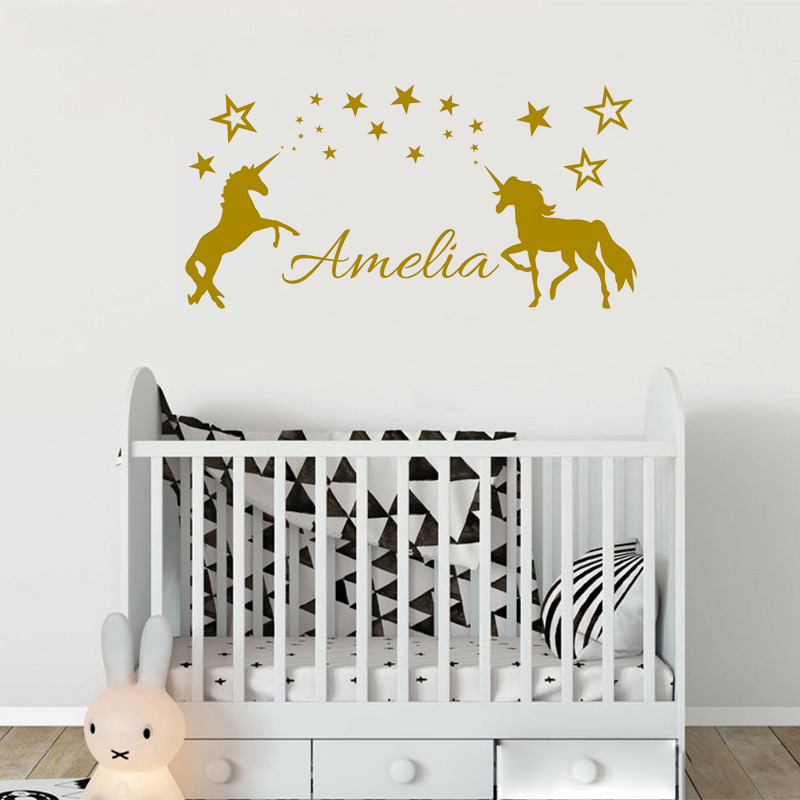 Personalised Name With Two Unicorn Beauty Bedroom Decoration For Kids Child Vinyl Art Star Wall Sticker Cartoon Poster W620