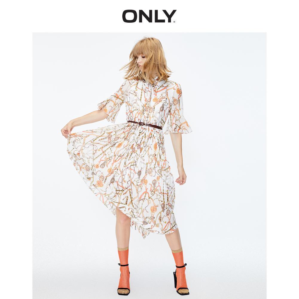 ONLY Women's Printed Pleated Irregular Chiffon Dress   119307585