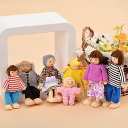 Crianças bebê casa de boneca de madeira pessoas móveis de madeira bonecas casa família em miniatura pessoas conjunto boneca brinquedo para criança, 4 / 6 / 7 pessoas