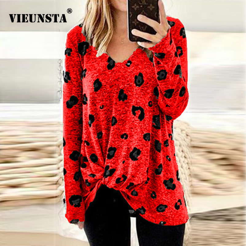 VIEUNSTA 5XL Autumn V-neck Floral Print Long Shirt Women 2019 Fashion Knot Side Twist Long Sleeve Blouse Elegant Femme Top Blusa