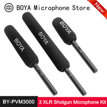 Boya BY-PVM3000 profissional microfone de espingarda supercardióide direcional baixo corte filtro de 3 pinos xlr saída para eng filme dslr mic