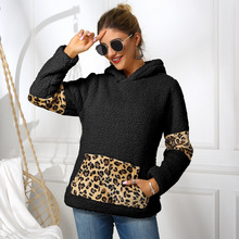 Women fleece sweatshirt winter casual faux fur leopard patchwork fluffly female hoodies warm turtleneck thick sherpa tops new