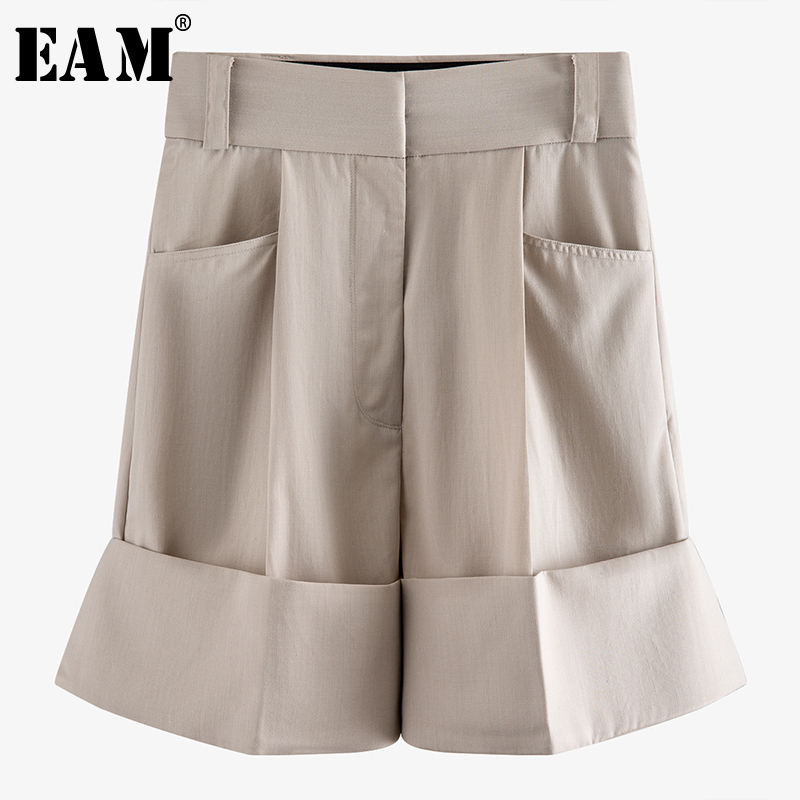 [EAM] High Waist Apricot Big Pocket Split Joint Knee Length Trousers New Loose Fit Pants Women Fashion Spring Summer 2020 WM2490