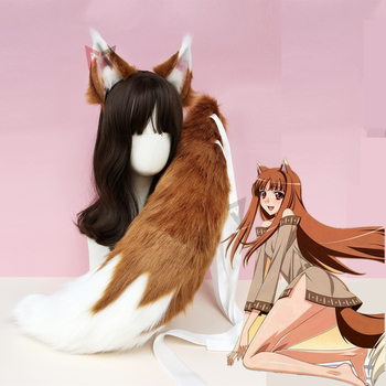 New  anime spice and Wolf cosplay Wolf Fox Ears Hair Hoop  Tail Set Hand Made Work Costume Accessories Custom Made anime cosplay props fox ears and tail set spice and wolf holo plush long fur neko ears tail party halloween costume accessories