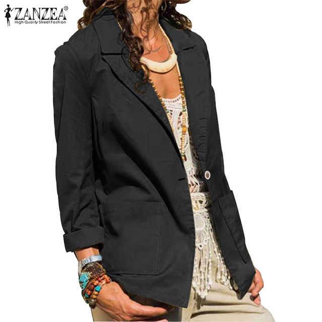 2020 di modo ZANZEA Giacche delle Donne Più Il Formato Femmina casual Manica Lunga di Autunno della Molla Outwear Solid Giacca Chaqueta Mujer 5XL 7