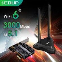 Двухдиапазонная сетевая карта EDUP 3000 Мбит/с PCI Express, Wi-Fi 6 адаптер Intel AX200 Bluetooth 5,1 PCI-e карта с базой для настольного компьютера