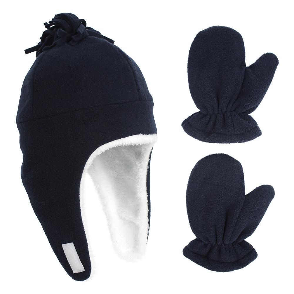 Детская Мягкая флисовая шапка бомбер комплект из шапки и перчаток