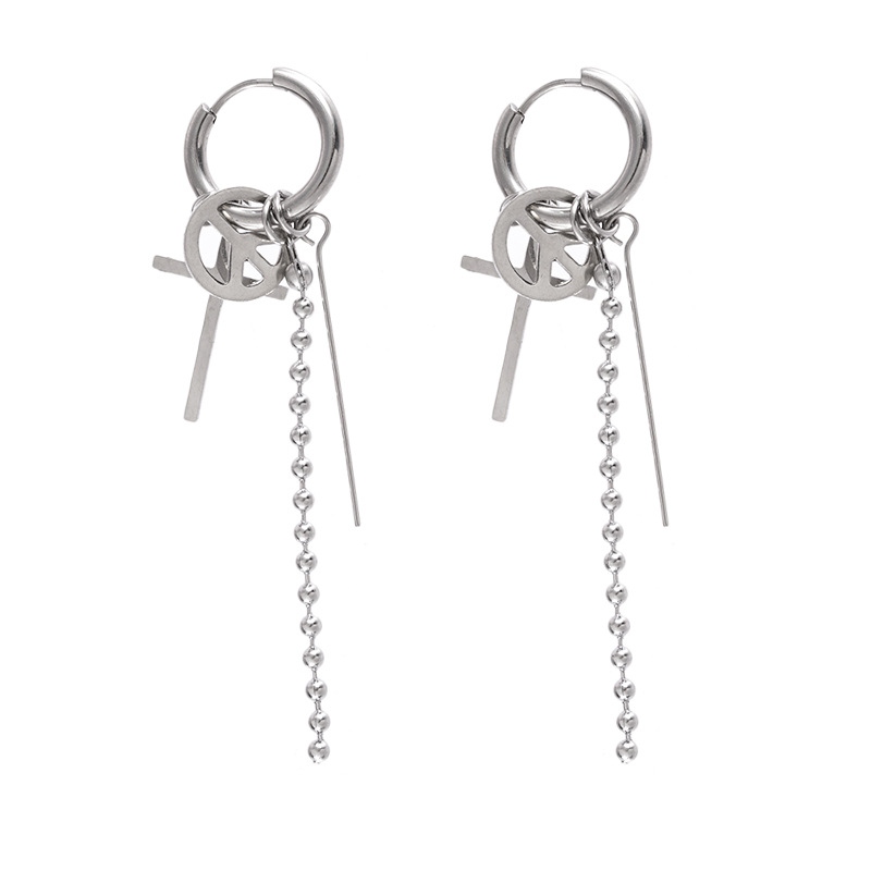 "1Pcs Kpop bangtan boys Korean Star quot JIMIN"" Cross Peace Stud Earrings For Women Men Bangtan boys Jewelry Accessories in Stud Earrings from Jewelry amp Accessories"