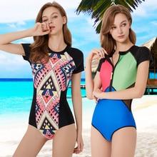 YUWANNIAN Womens Fashion Rash Guard Surf Suit Short Sleeves Floral Print Zipper Sun Protection One Piece Swimsuit Bathing