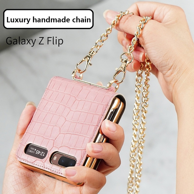 Luxury Mirror Case for Samsung Z Flip 5G Cover Makeups Bag Phone Case with Chain Strap Shockproof Shell for Galaxy Z Flip Case 5