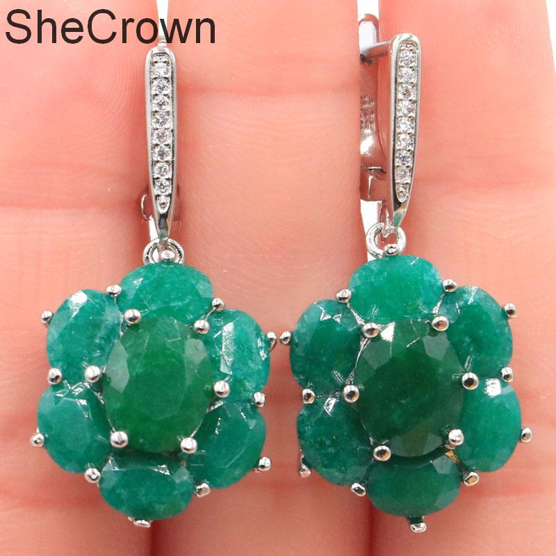 38x17mm Romantic SheCrown Real Green Emerald White CZ Gift For Sister Silver Earrings