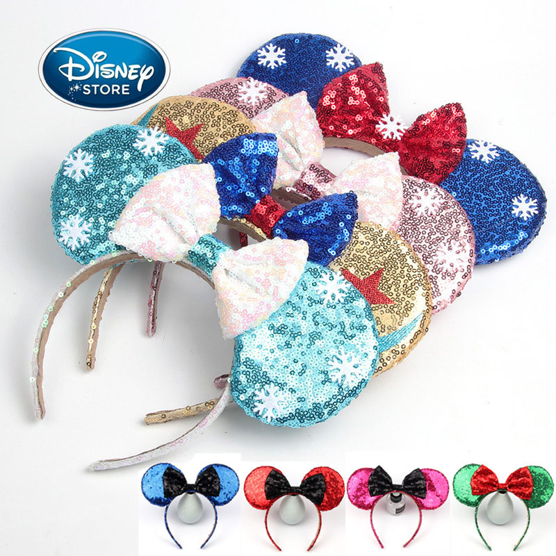 Disney Ear Frozen Elsa Anna Bow Sequins Headband Mickey Ear Headbands For Women Girls Hairband Hair Hoop Women Hair Accessories