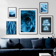Wall Art Canvas Painting Blue Flower Fog Mountain Light Seascape Nordic Posters And Prints Pictures For Living Room Decor