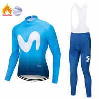 2019 winter thermische fleece langarm set bicicleta maillot ciclismo kit bike winter radfahren kleidung Ropa de invierno