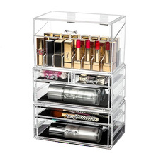 Oversized Transparent Cosmetics Storage Box Drawer Makeup Jewelry Organizer Acrylic Lipstick Nail Polish Display Stand Holder 24 grids lipstick holder makeup lipstick display stand storage rack makeup organizer acrylic storage box