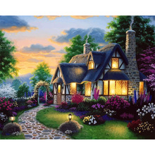 Landscape Canvas Painting Fairy Tale Hut Pictures By Numbers Hand Painted Canvas Oil Paintings Wall Art Decor Unique Gifts