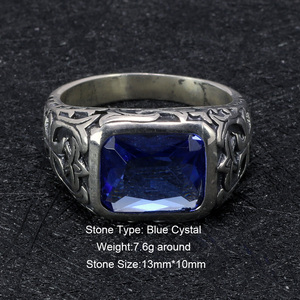 Image 2 - Real Pure 925 Sterling Silver Rings For Men Blue Natural Crystal Stone Mens Ring Vintage Hollow Engraved Flower Fine Jewelry