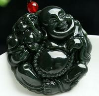 Natural Green Jade Pendant Maitreya Buddha Laughing Buddha Amulet Buddha Statue Small Gift