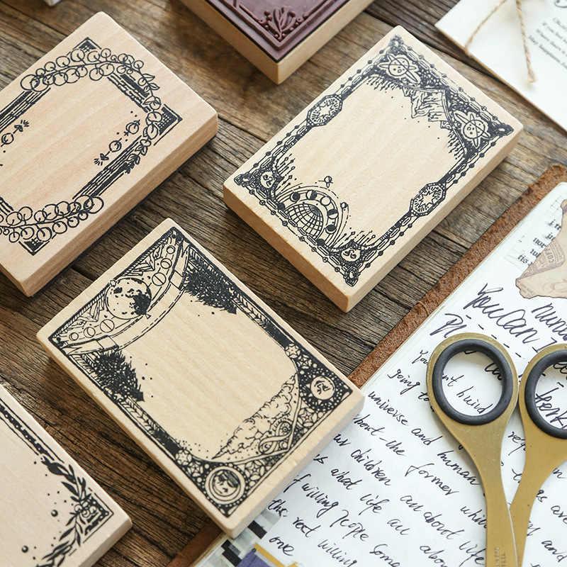 Vintage Daun Tanaman Label Dekorasi Stempel Karet Kayu Perangko untuk Scrapbooking Alat Tulis DIY Kerajinan Standar Stamp
