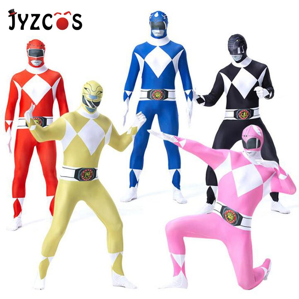 JYZCOS Halloween Adult Mans Zentai Skin Tight Costumes Power Ranger Dinosaurs Team  Anime Cosplay Fancy Purim Costume Jumpsuit