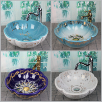 Blue Bathroom Ceramic Above Counter Wash Basin Flower Shape Home Nordic Wash Hand Basin Single Bowl Simple Shampoo Sinks
