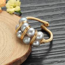 Grey pearl ring Baroque Freshwater Pearl Rings For Women Gift Original Design Handmade Ring Pearl Light luxury jewelry(China)