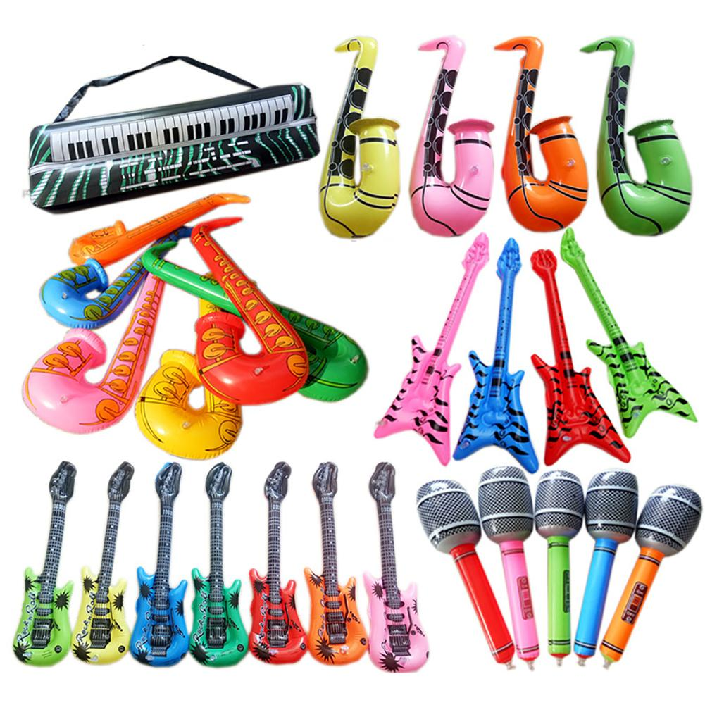 Kids Children Inflatable Props PVC Inflatable Guitar Microphone Lute Musical Instrument Kids Toy Party Props For Birthday Party