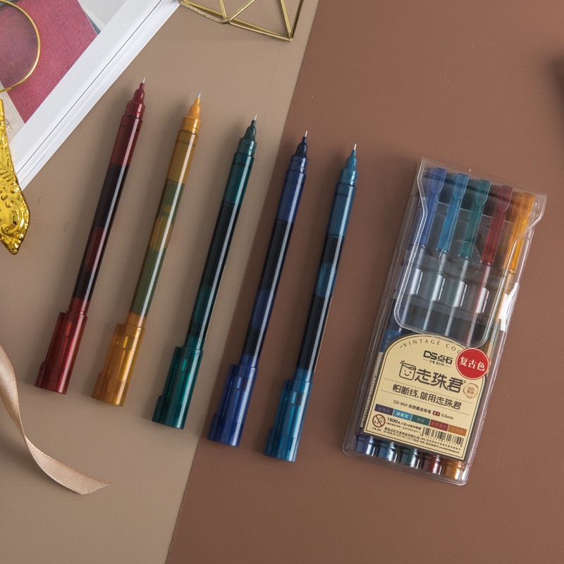 5 Pcs/pack Retro Multicolor Ink Fine Roller Ball Straight Liquid Gel Pen Signature Neutral Pen School Office Supply Gift