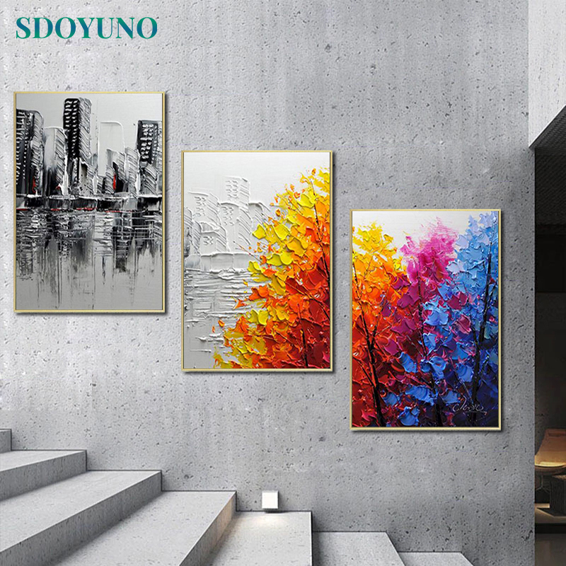 SDOYUNO 3Pcs 40x50cm Painting By Numbers For Adult Scenery DIY Frameless Paint By Numbers On Canvas Handpainted Home Decor