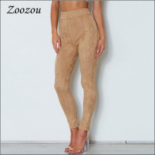 High Waist Suede Pants Camel Women Back Zipper Skinny Slim Trousers Female 2020 Casual Suede Legging Stretch Pencil Pants Custom