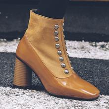 Fanyuan/большой выбор в винтажном стиле квадратный носок; Ботильоны