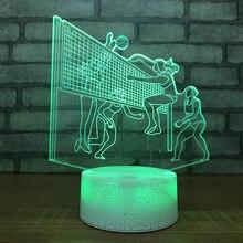 Для женщин волейбольный матч 7 цветов лампа 3d Визуальный светодиодный Ночной светильник Размер s для детей сенсорный Usb Таблица Lampara лампе сна светильник