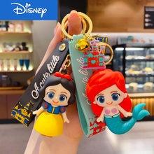 Disney Cartoon Gummed Girl Mermaid Princess Keyring Cute Snow White Alice Key Chain Bag Accessories Gift Keychain