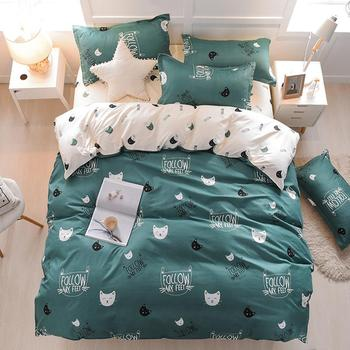 55Home Textile Animal world Cat Cartoon Green Duvet Cover Pillowcase Flat Bed Sheet Kid Child Teen Boy Girl Bedding Linen Set image