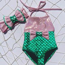 Детский слитный купальник бикини с бантом и юбкой годе