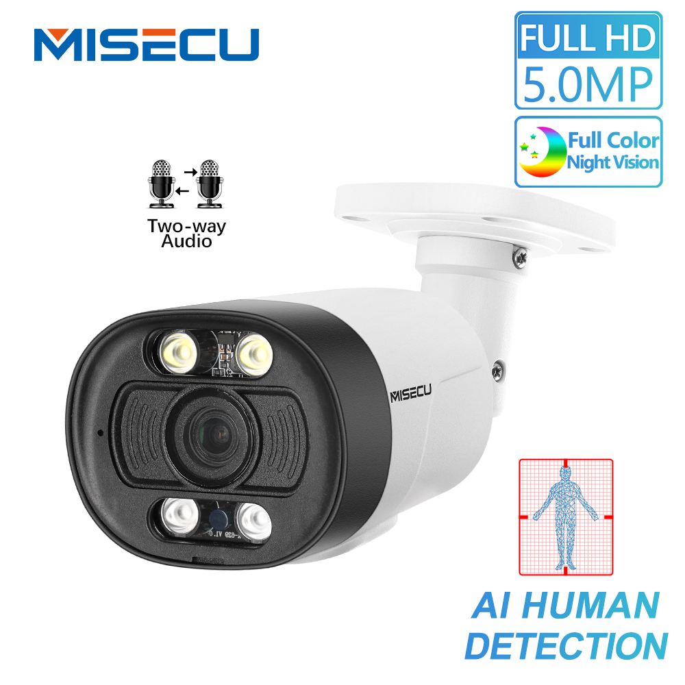 MISECU H.265 5MP 1080P POE Camera Two Way Audio Human Detection Outdoor Waterproof IP Camera ONVIF Security Video Surveillance