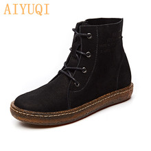 AIYUQI  Autumn New Boots Women Genuine Leather Shoes Winter Woman Casual Female Ankle Motorcycle