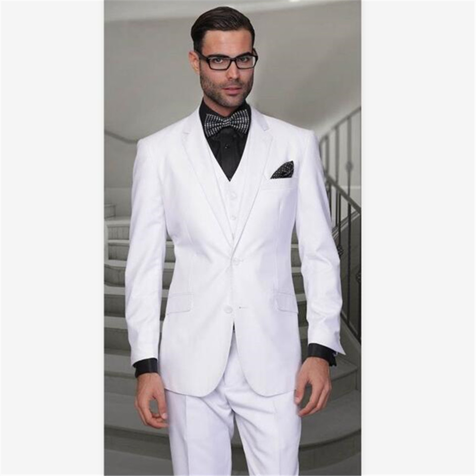 New Classic Men's Suit Smolking Noivo Terno Slim Fit Easculino Evening Suits For Men White Groom Tuxedos Best  Business Prom