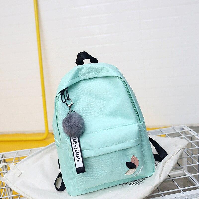 2019 Solid Backpack Girl School Bags For Teenage College Wind Women SchoolBag High Student Bag Black Nylon Printing