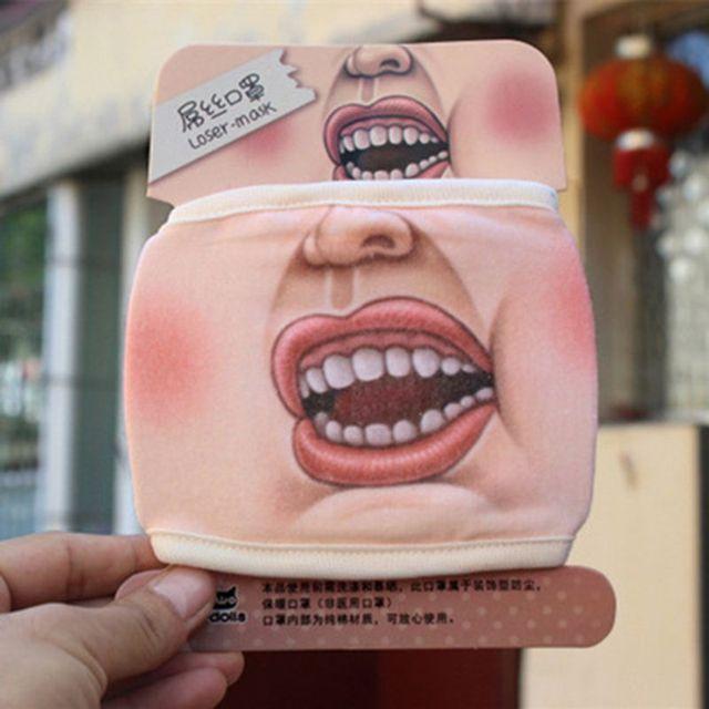 4Pcs Anti Dust Funny Mouth Mask Anti Flu Cotton Cartoon Face Masks Kit 85WB 2