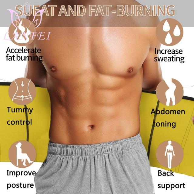 LANFEI Hot Neoprene Body Shaper Waist Trainer Belt Sauna Slimming Tummy Control Strap Men Sport Fitness Sweat Corset Fat Burner 5