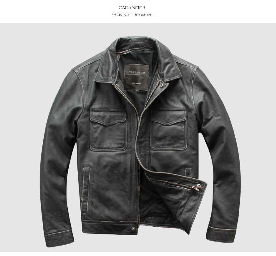 H6e8c0d2e40ec4d9298c6632b56f927e2B CARANFIER DHL Free Shipping Mens 100% Cowhide Genuine Leather Jacket High quality old retro motorcycle leather jacket 3XL
