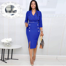Royal Blue Split Elegant OL Business Workwear Dinner Dress Female African Women Midi Dresses Robe 2019 Autumn Femme Vestiods(China)