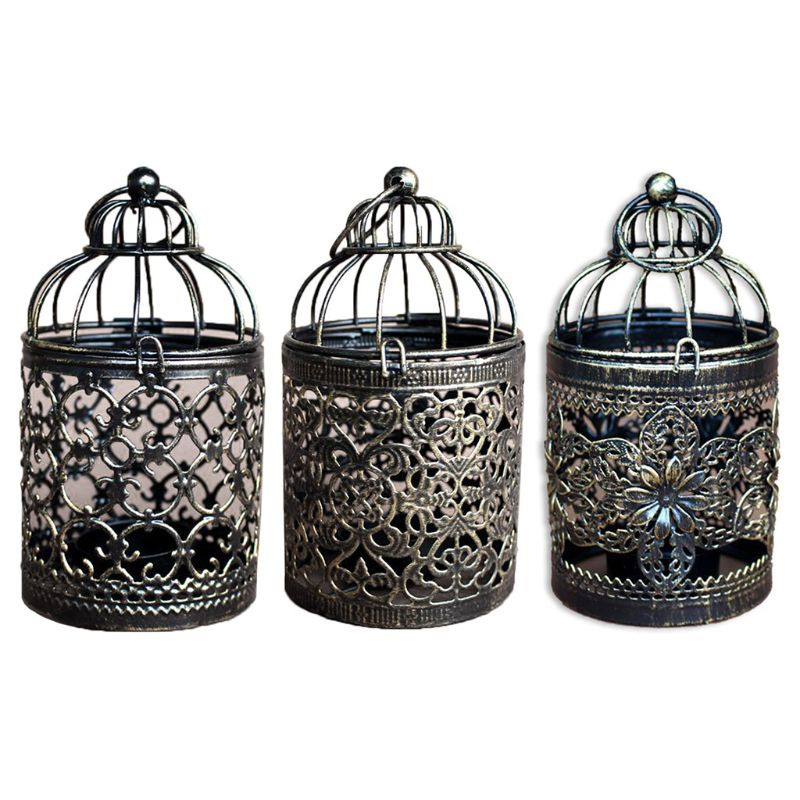 Hollow Tealight Candlestick Hanging Lantern Vintage Bird Cage Candle Holder Wedding Party Home Decor image